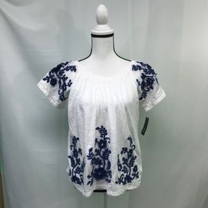 INC White With Blue Embroidery Top
